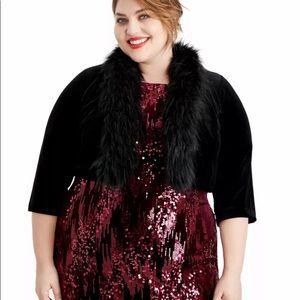 HOST PICK 🌞🌞🌞Velvet Faux Fur Plus Size Bolero
